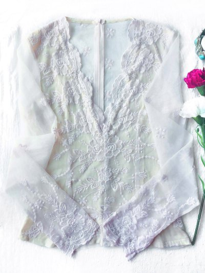 Long Sleeve Semi Sheer Lace Top - WHITE M Mobile