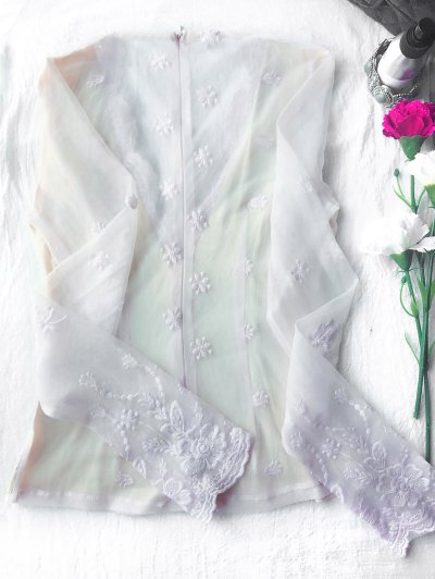 Long Sleeve Semi Sheer Lace Top - WHITE S Mobile