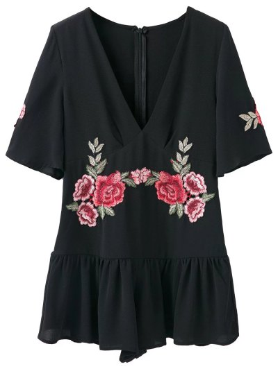 Embroidered Patches Ruffle Romper - BLACK L Mobile