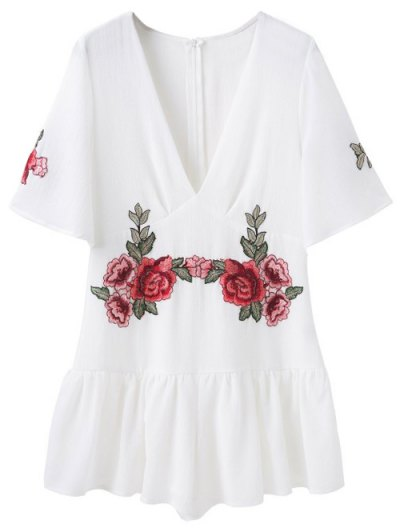 Embroidered Patches Ruffle Romper - WHITE M Mobile