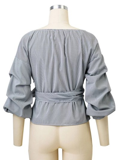 Bowknot Striped Surplice Blouse - STRIPE L Mobile