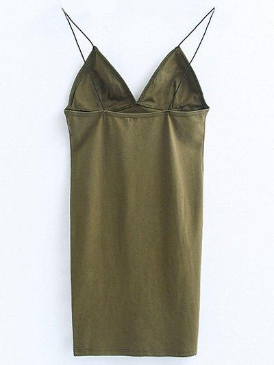 Elastic Spaghetti Strap Mini Bodycon Dress - FLAX GREEN S Mobile