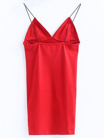 Elastic Spaghetti Strap Mini Bodycon Dress - BRIGHT RED S Mobile
