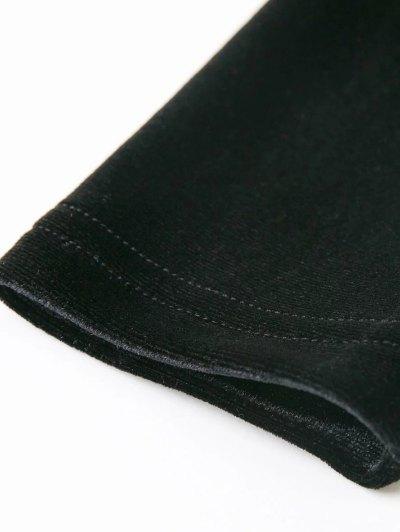 Off The Shoulder Long Sleeve Velvet Dress - BURGUNDY M Mobile