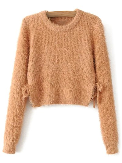Cropped Fuzzy Lace Up Sweater - LIGHT BROWN M Mobile