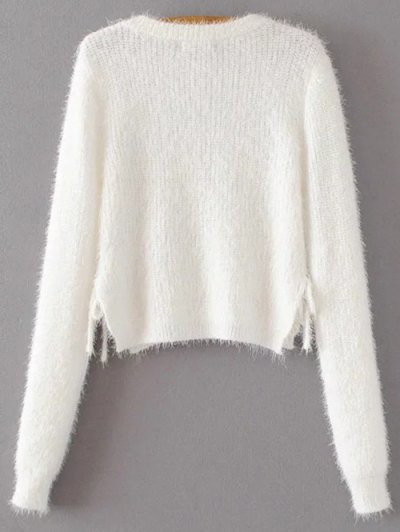 Cropped Fuzzy Lace Up Sweater - WHITE M Mobile