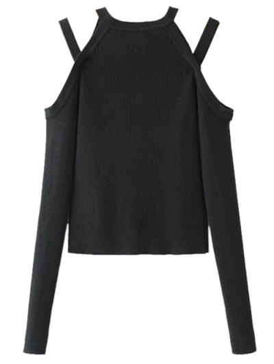 Banded Cold Shoulder Knitted Top - BLACK M Mobile
