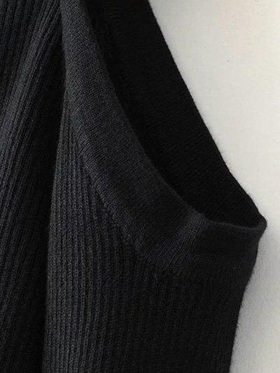 Banded Cold Shoulder Knitted Top - BLACK S Mobile