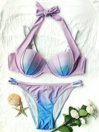 Ombre Color Mermaid Shell Halter Bikini - BLUE + PURPLE L Mobile