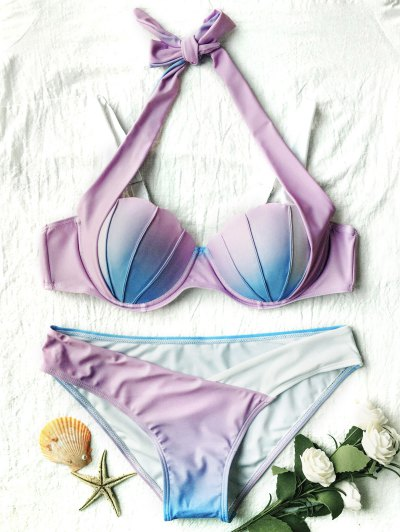 Ombre Color Mermaid Shell Bikini - BLUE + PURPLE S Mobile