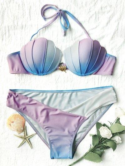 Ombre Color Shell Bikini - BLUE + PURPLE S Mobile