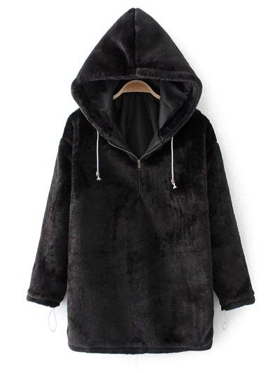Half Zip Velvet Drawstring Hoodie - BLACK M Mobile