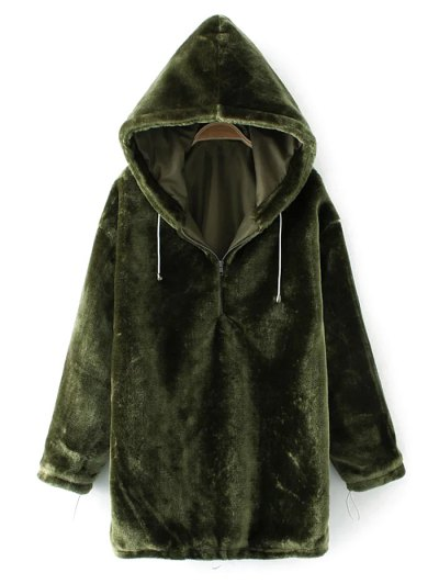Half Zip Velvet Drawstring Hoodie - BLACKISH GREEN S Mobile