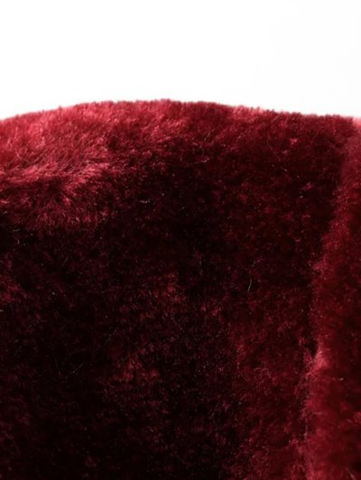 Half Zip Velvet Drawstring Hoodie - BURGUNDY L Mobile