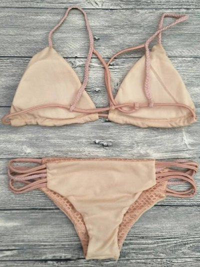 Braid Strappy Grid Bikini Set - COMPLEXION M Mobile