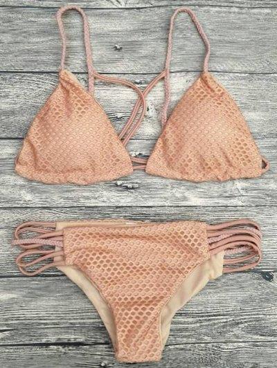 Braid Strappy Grid Bikini Set - COMPLEXION S Mobile