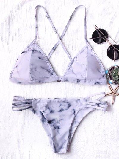 Tie Dyed Thong Bikini - GREY AND WHITE M Mobile