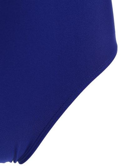 Scoop Neck High Cut One-Piece Swimwear - BLUE M Mobile