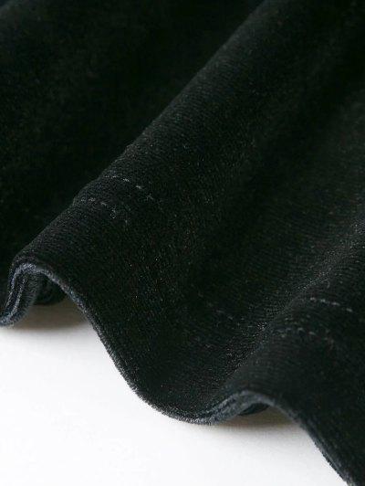 Off The Shoulder Long Sleeve Velvet Dress - LAKE GREEN M Mobile