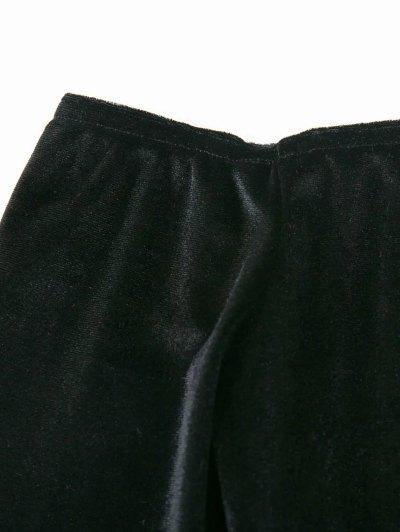 Off The Shoulder Long Sleeve Velvet Dress - BLACK L Mobile