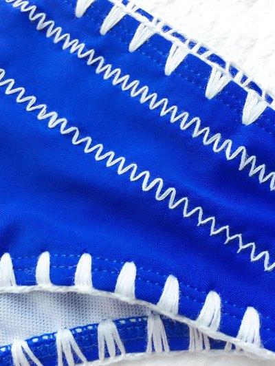 Contrast Stitching Plunge Halter Bikini - BLUE L Mobile