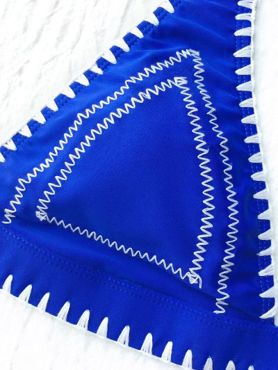 Contrast Stitching Plunge Halter Bikini - BLUE M Mobile