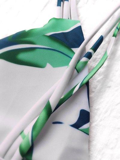 Strappy Leaf Print Plunge Bikini - WHITE S Mobile