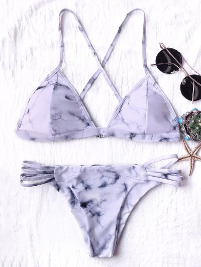 Tie Dyed Thong Bikini - GREY AND WHITE L Mobile