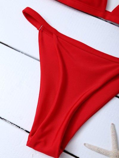 Low Waisted Spaghetti Strap Bikini Set - RED L Mobile