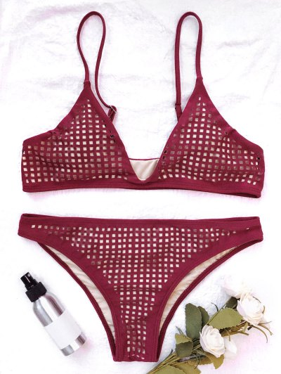 Square Laser Cut Bikini Top and Bottoms - BURGUNDY L Mobile