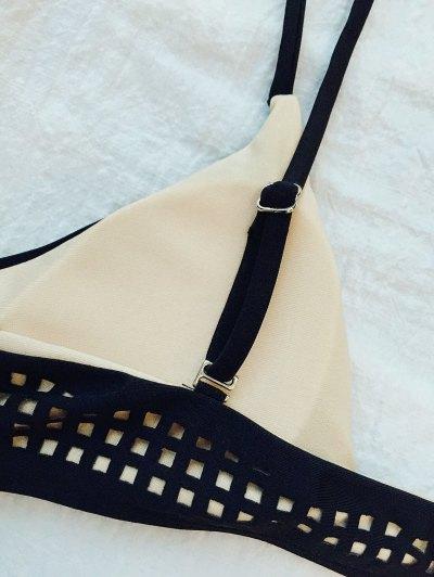 Square Laser Cut Bikini Top and Bottoms - BLACK S Mobile