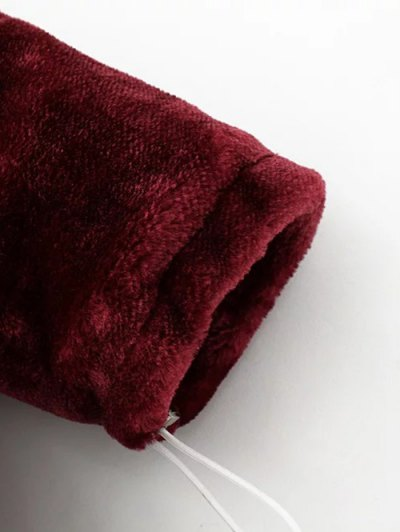 Half Zip Velvet Drawstring Hoodie - BLACK L Mobile