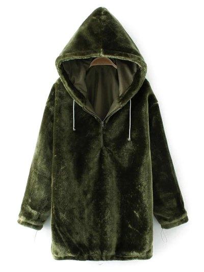 Half Zip Velvet Drawstring Hoodie - BLACKISH GREEN L Mobile