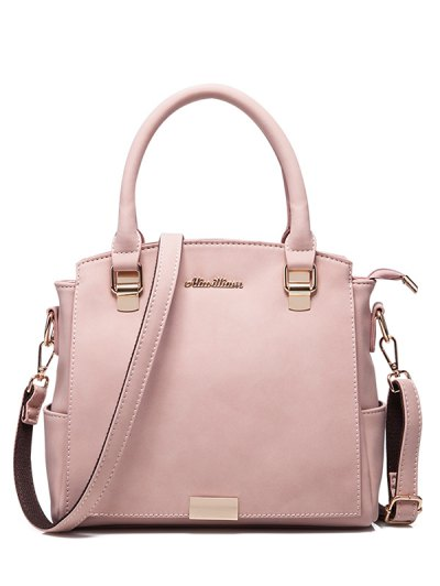 Double Pocket Zipper Faux Leather Tote Bag - PINK  Mobile