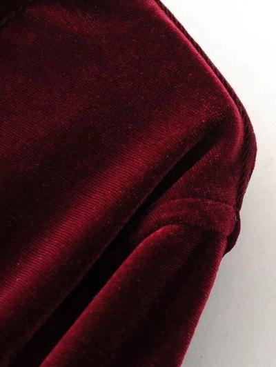 Split Neck Velvet Tunic Dress - BURGUNDY M Mobile