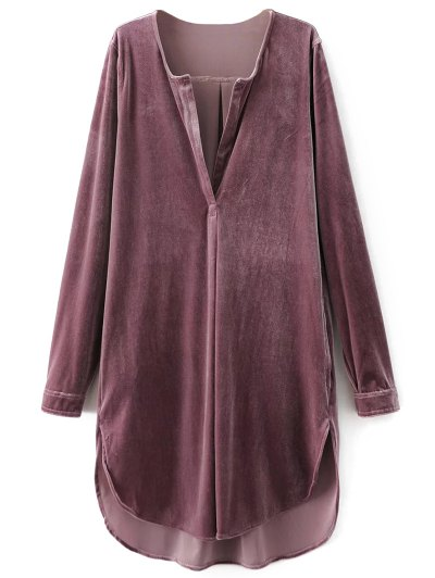 Split Neck Velvet Tunic Dress - PINK SMOKE L Mobile