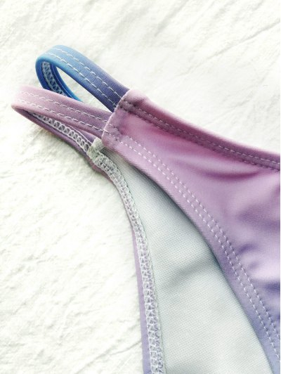 Ombre Color Shell Mermaid Bikini - BLUE + PURPLE S Mobile