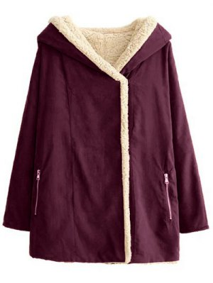 Fleece Lining Hooded Swing Coat - Spice