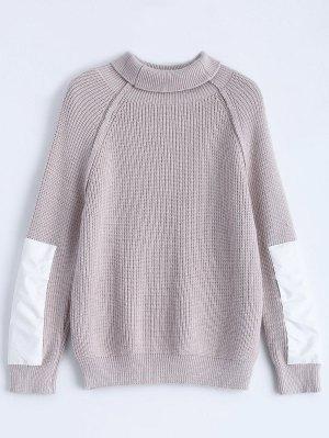 Patch Sleeve Chunky Sweater - Smashing
