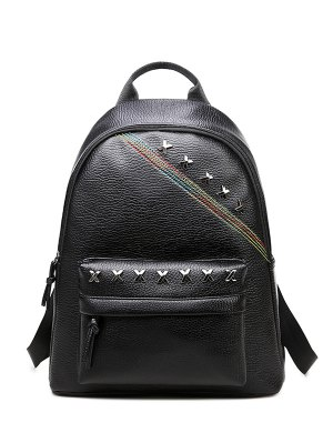 Criss Cross Faux Leather Backpack - Black