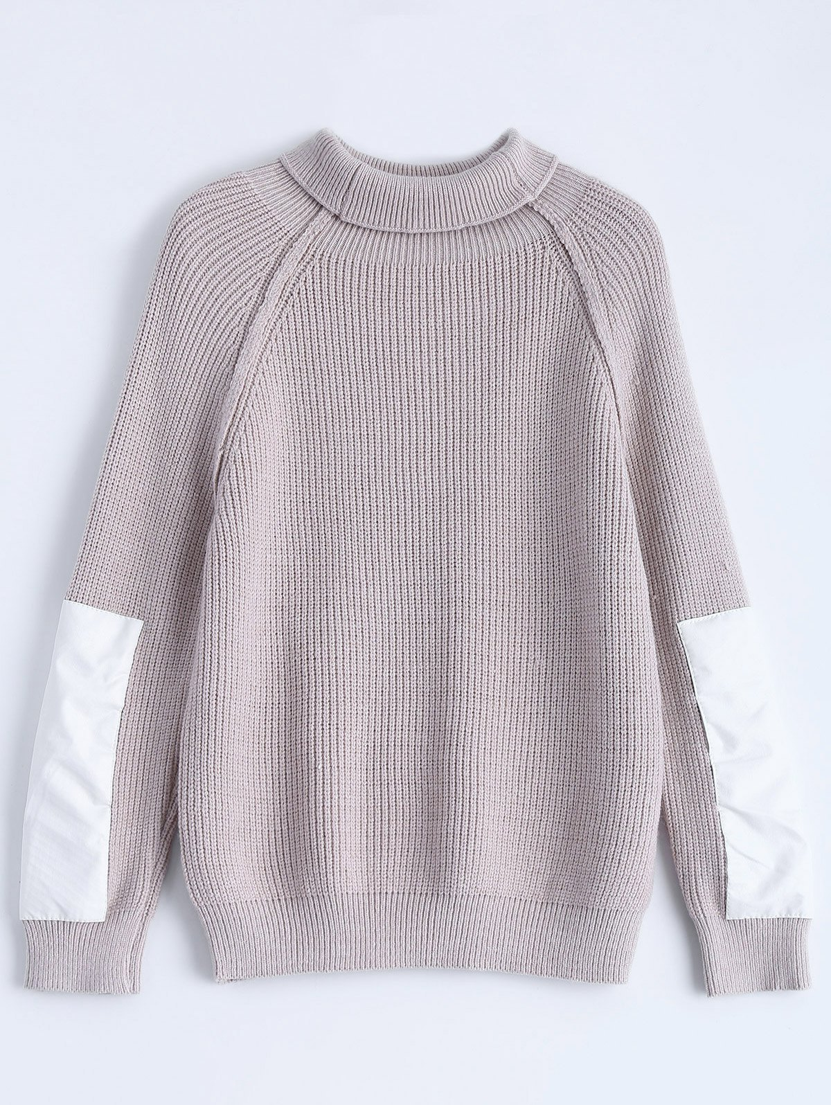 Patch Sleeve Chunky SweaterClothes<br><br><br>Size: ONE SIZE<br>Color: SMASHING