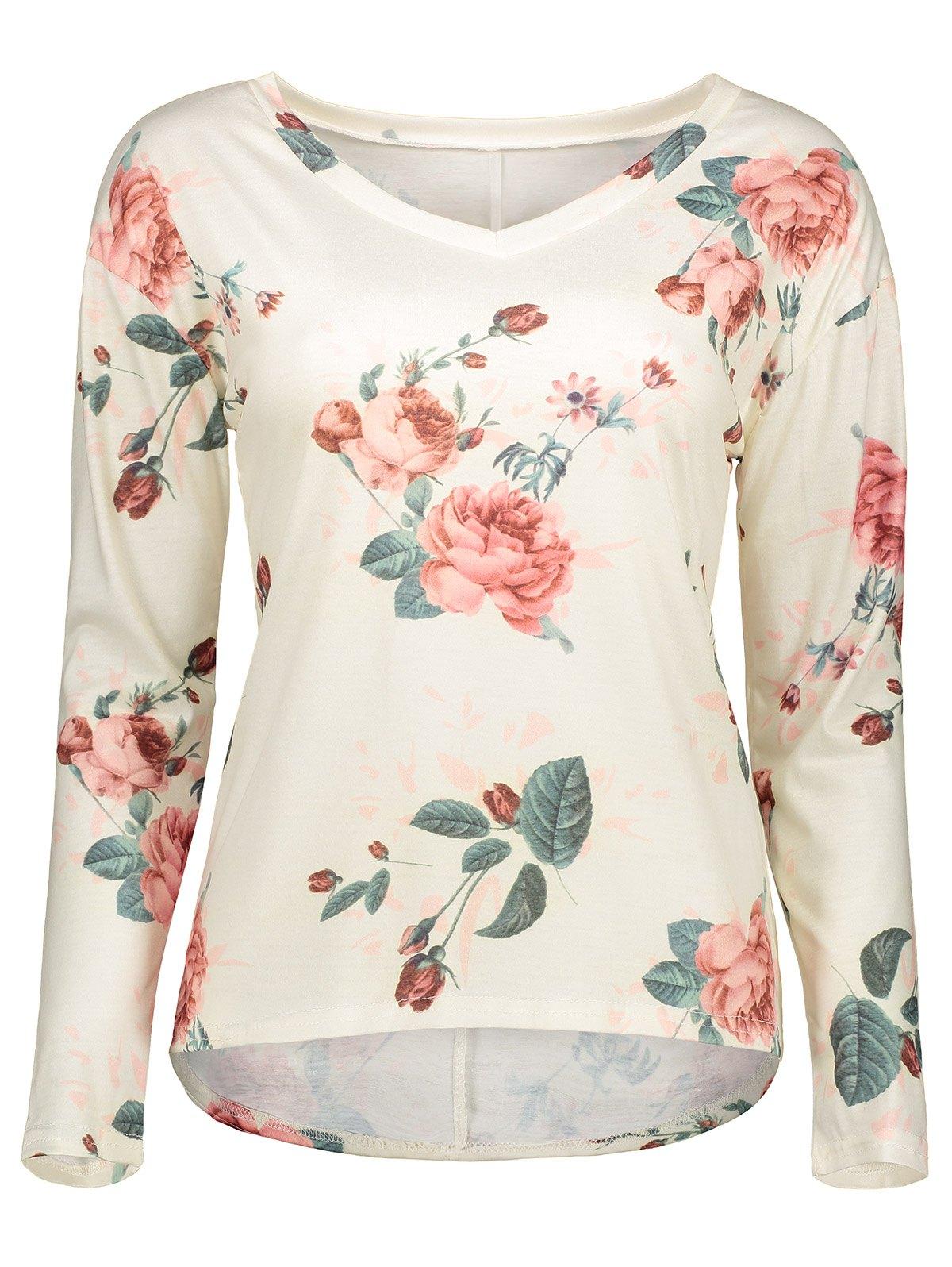 V Neck Long Sleeve Floral T-Shirt