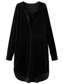 Split Neck Velvet Tunic Dress