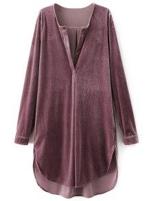 Split Neck Velvet Tunic Dress