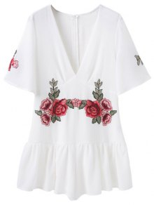 Embroidered Patches Ruffle Romper - White M