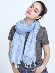 Oblong Leaf Print Voile Scarf With Tassel Edge - Sky Blue