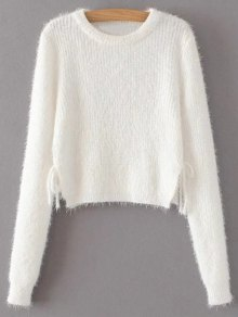 Cropped Fuzzy Lace Up Sweater - White
