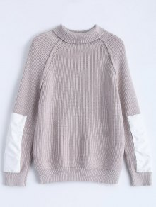 Patch Sleeve Chunky Sweater