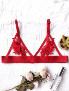 Unlined Floral Mesh Bra - Red