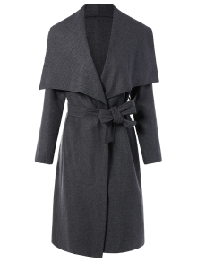 Tie Waist Shawl Collar Wrap Coat